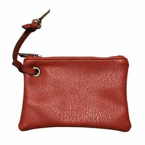 Free People Faux Leather Zipper Pouch Bag